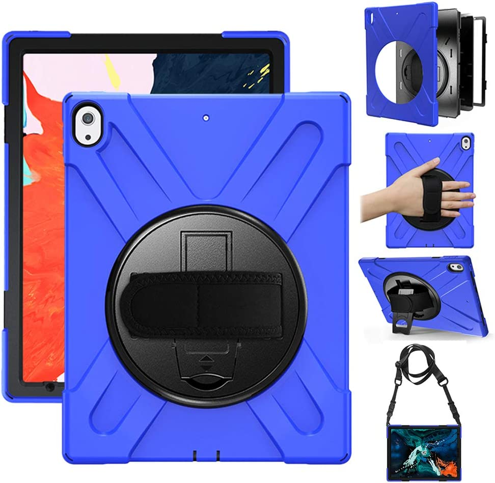 Gzerma Case for iPad Pro 12.9 2018 Case Full Body Protective Case Heavy Duty Shell Shockproof Kickstand Handle Strap Childproof Cover Case for iPad Pro 12.9 3rd Generation 2018(Blue)