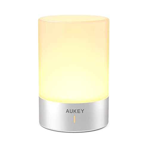 AUKEY Cordless Lamp Rechargeable Table Lamp LED Bedside Lamp with Dimmable Warm White Light Color Changing RGB Touch Lamp for Bedrooms