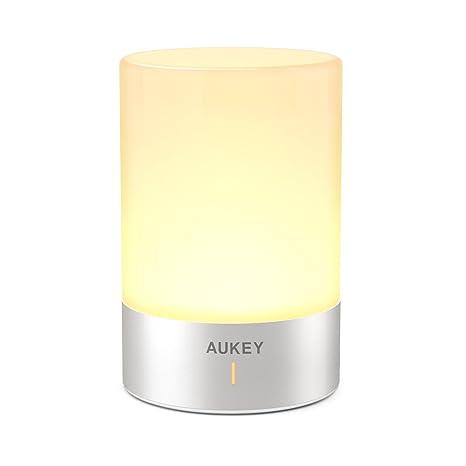 AUKEY Lámpara de Mesa Recargable con Luz Blanca Cálida Regulable & Color-Cambiante RGB, Lámpara Táctil con una iluminación de 360 grados para ...