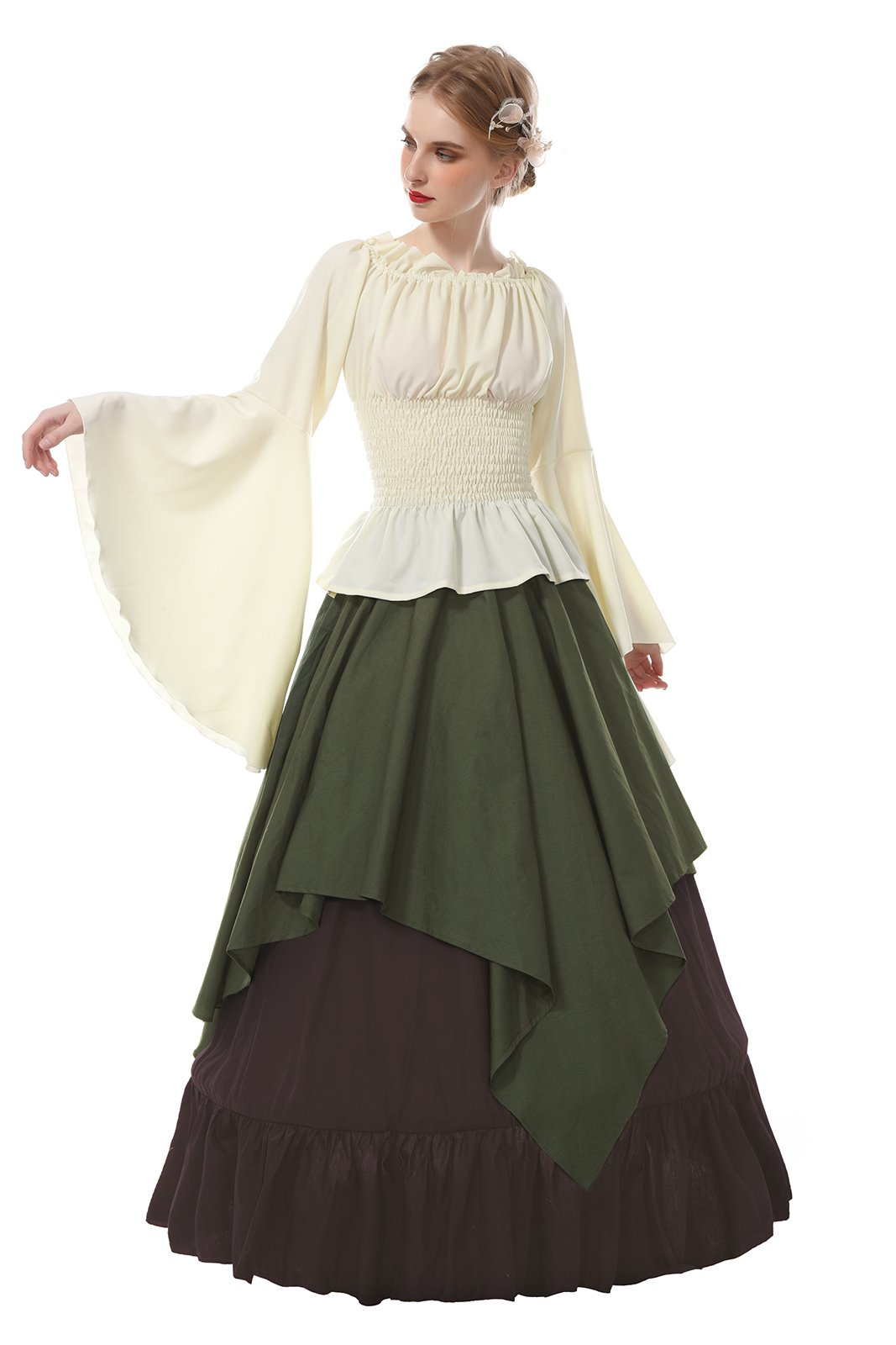 ROLECOS Womens Renaissance Medieval Costume Trumpet Sleeve Peasant Shirt and Skirt Army Green XXL