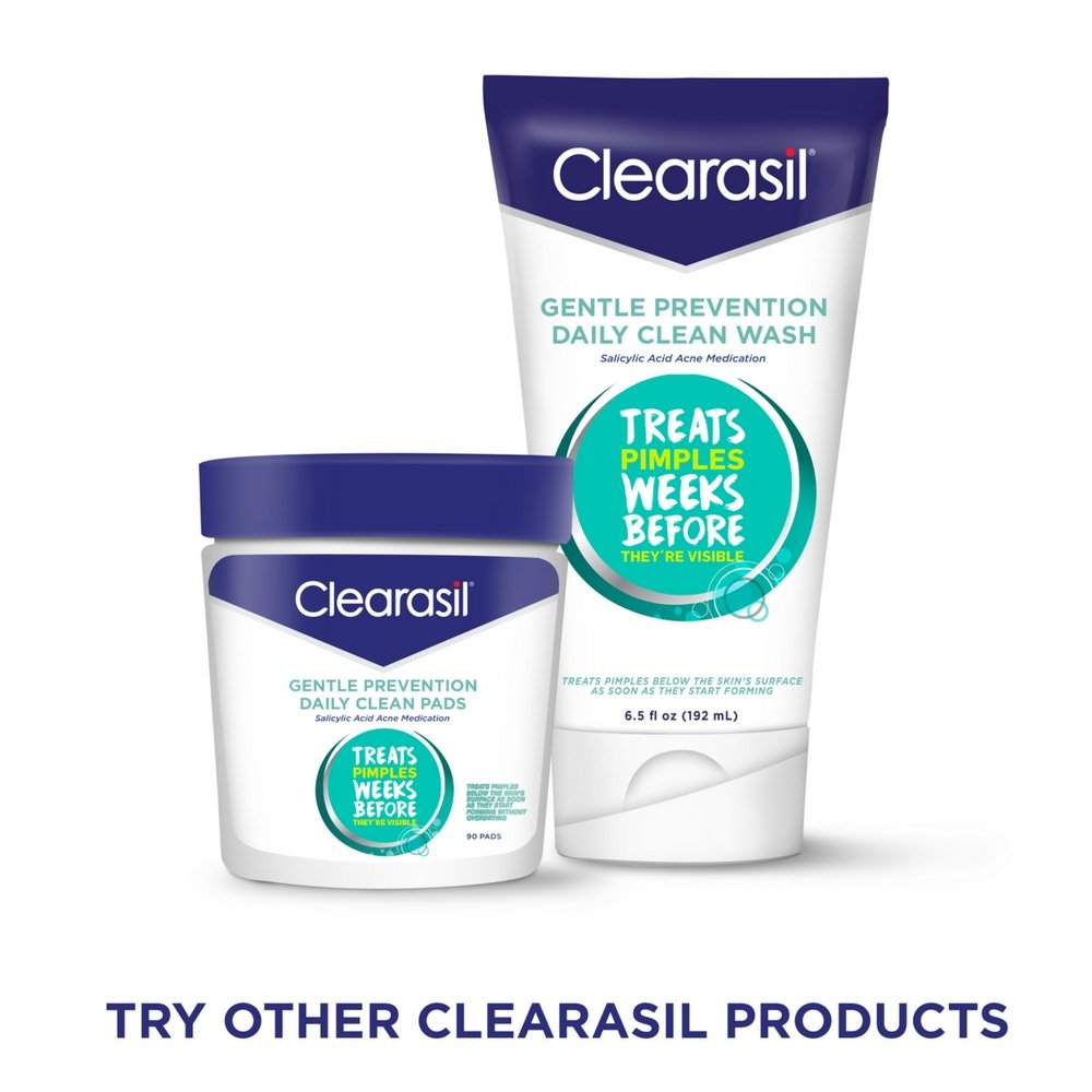 Clearisil Stubborn Acne Control Kit- 5-in-1 Daily Facial Cleansing Pads (90 Count), Exfoliating Wash (6.78 oz.) & Spot Treatment Cream (1 oz.) Salicylic Acid & Benzoyl Peroxide Treatment, 1 Each by Clearasil