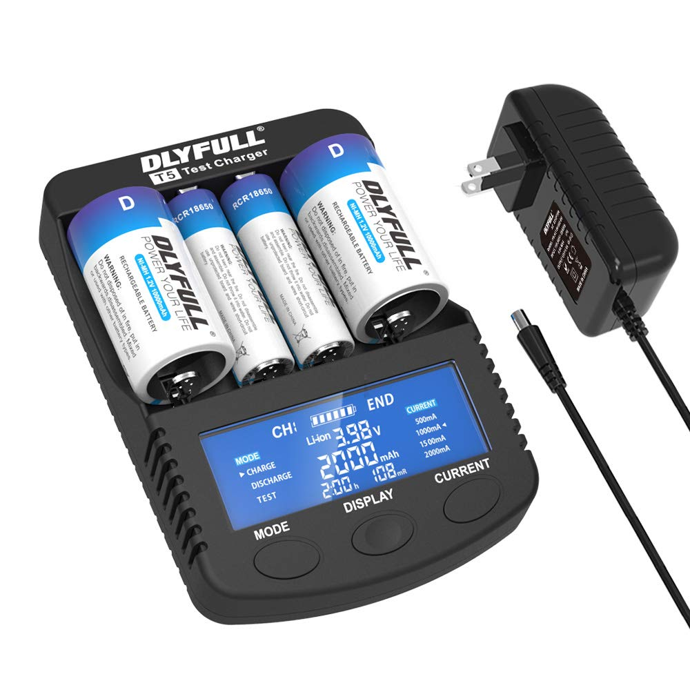 Dlyfull Pro Super Fast Battery Charger with LCD Display, 4 Slots Universal Battery Charger for 3.7V Li-ion 26650 22650 26500 18650 17500 17335 14500 & A AA AAA C SC D Ni-MH/CD Rechargeable Batteries