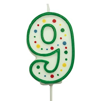 large number 9 birthday candle