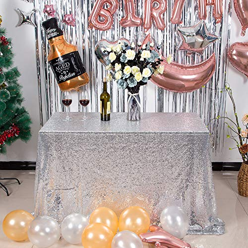 Silver Sequin Tablecloth (JYFLZQ Sequin Tablecloth Table Cover Overlay for Wedding Birthday Party Baby Shower (50