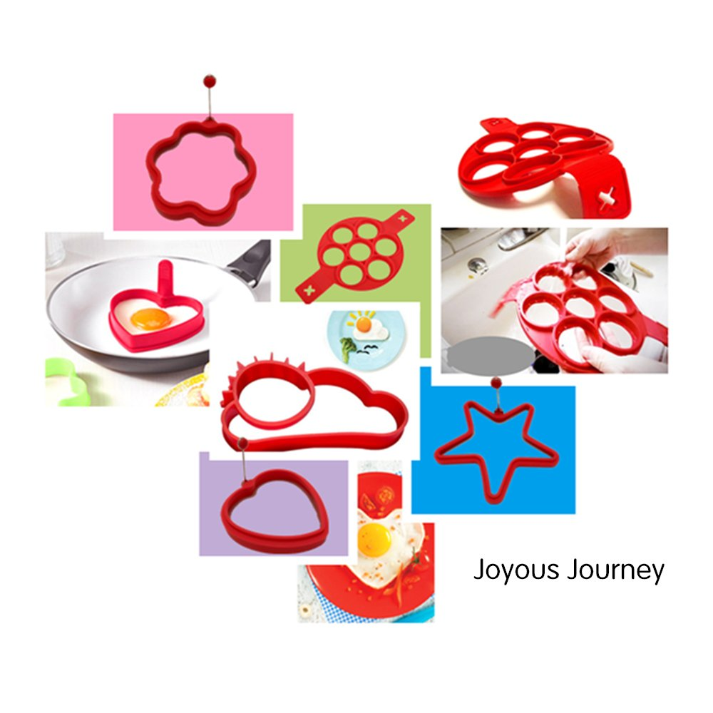 Joyous Journey Pancake Mold Set, 6-Pack Food-grade Non Stick Silicone Egg Mold Ring (6 different shapes) by Joyous Journey (Image #7)