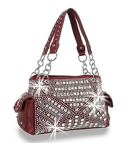 b27c6945eb HX Bling Rhinestone Concealed Carry CCW Purse Burgundy Red  Handbags ...