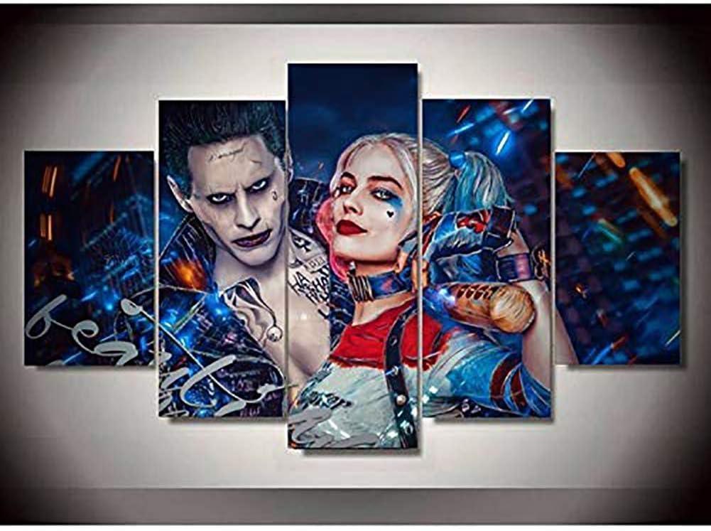 BOYH 5 pi/èces Moderne Abstrait Impression de Peinture Art Mural en Toile des Photos Suicide Squad Joker avec Harley Quinn Picture Poster Salon D/écoration de Maison