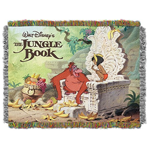 """Disney's The Jungle Book, """"King Louie"""" Woven Tapestry Throw Blanket, 48"""" x 60"""", Multi Color"""