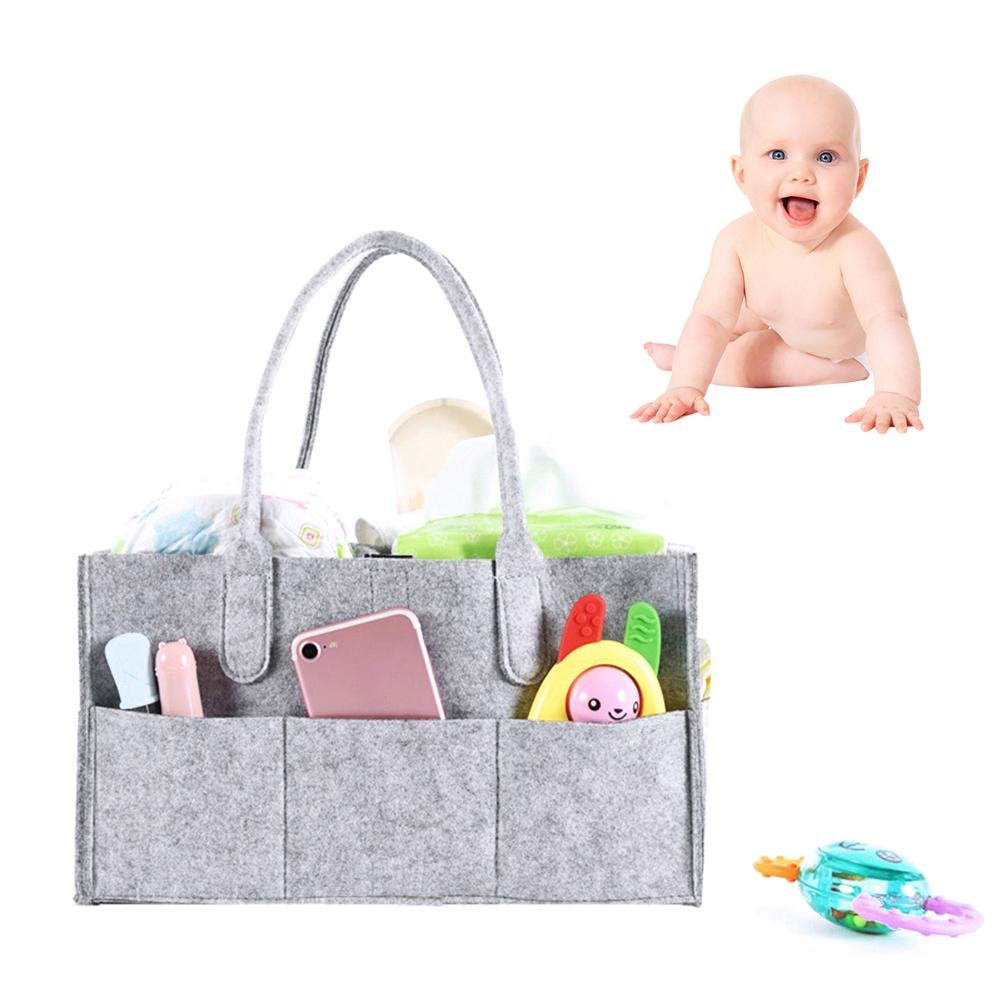 Diaper Caddy Organiser Baby Nappy, Storage Nursery Basket Wipes Bag, Portable Lightly Multifunction Changeable Compartments for Mom Newborn Kids Nappies Toys Car Travel Shower Gift, Grey feiledi Trade