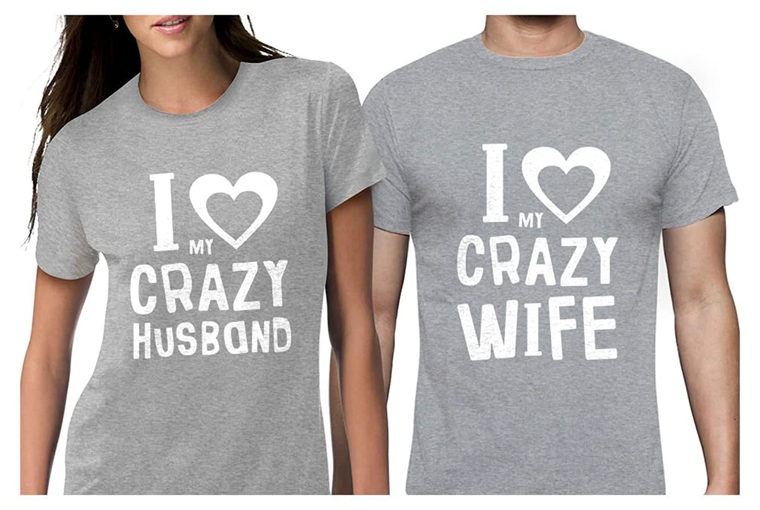 17caeba97 Funny Husband & Wife Matching T-Shirts. The perfect gift for couples. I  Love My Crazy Husband & Wife matching set. Great gift for Valentine\'s Day,  ...