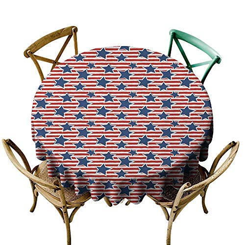 banquet tablecloth 54 inch 4th of July,Flag of the Greatest Nation in the World Stars and Stripes Old Glory, Royal Blue Ruby White 100% Polyester Spillproof Tablecloths for Round Tables