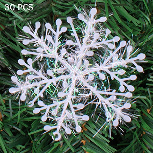 ZYN Plastic Snowflake Ornaments Sparkling White Iridescent Glitter Snowflake Ornaments Crafting Wedding and Embellishing 30 PCS