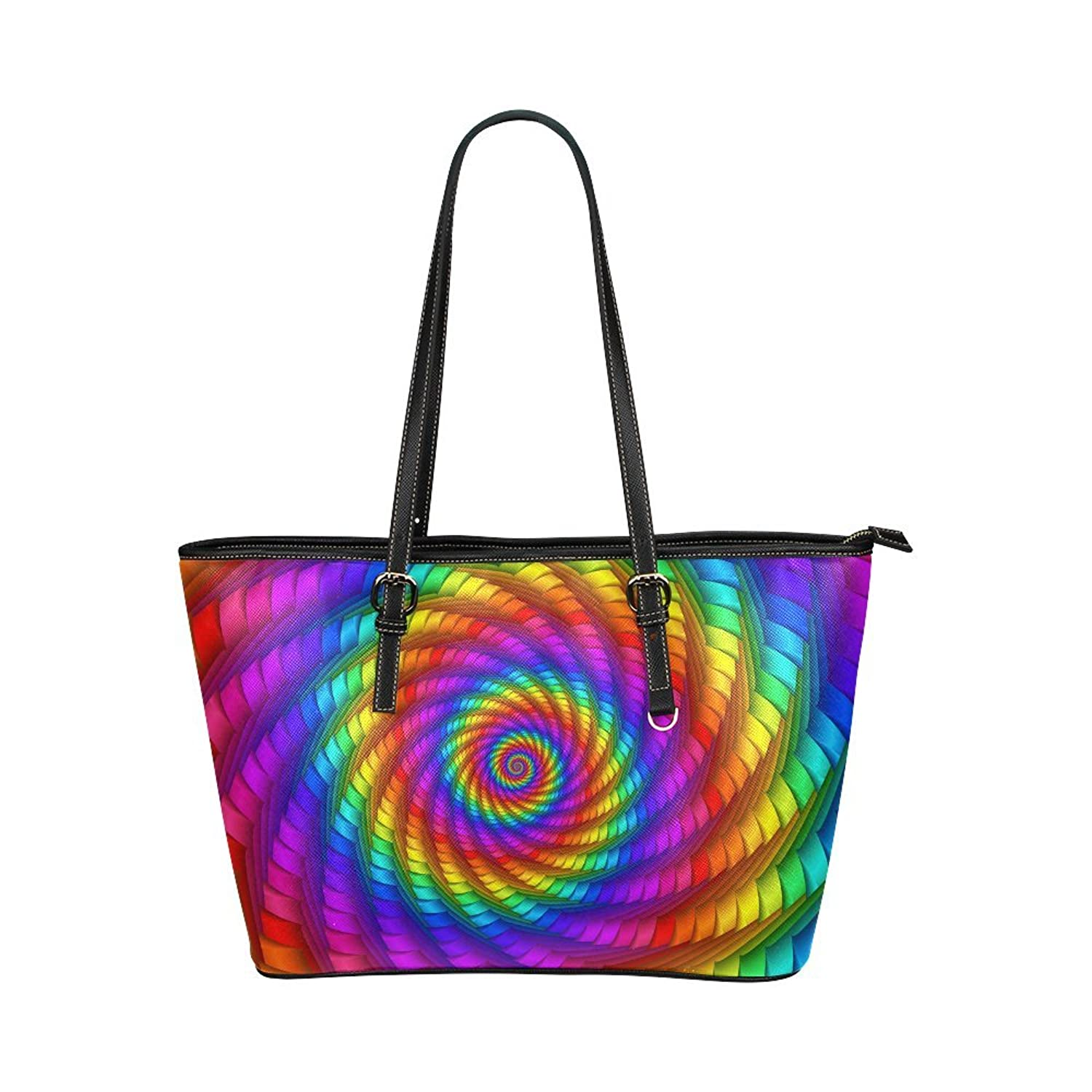 Pyschedelic Rainbow Spiral Custom Women's Leather Tote Large Bag/Handbag/Shoulder Bag