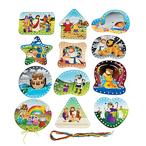 - Fun Express - Bible Story Lacing Cards for Christmas - Educational - Learning Aids - Manipulatives - Christmas - 24 Pieces