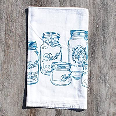 Tea Towel Flour Sack Cotton Kitchen Table Linens Screen Printed Teal Mason Jars