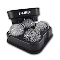 "Fast-Release Ice Ball Maker Tray, Black Flexible Silicone Ice Cube Tray, Ultra Slow Melting Ice Spheres Perfectly round 2"" Ice Ball Maker, Whisky, Scotch, Highball Cocktail or Liqueur Glasses"