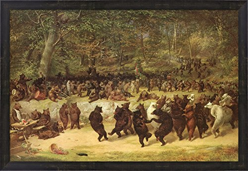 The Bear Dance by William Holbrook Beard Framed Art Print Wall Picture, Espresso Brown Frame, 32 x 22 inches