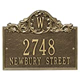 Comfort House Personalized Cast Metal Address plaque with Monogram displays your address and street name P2556 Custom House Number Sign