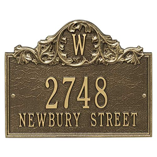 (Comfort House Personalized Cast Metal Address plaque with Monogram displays your address and street name P2556 Custom House Number Sign)