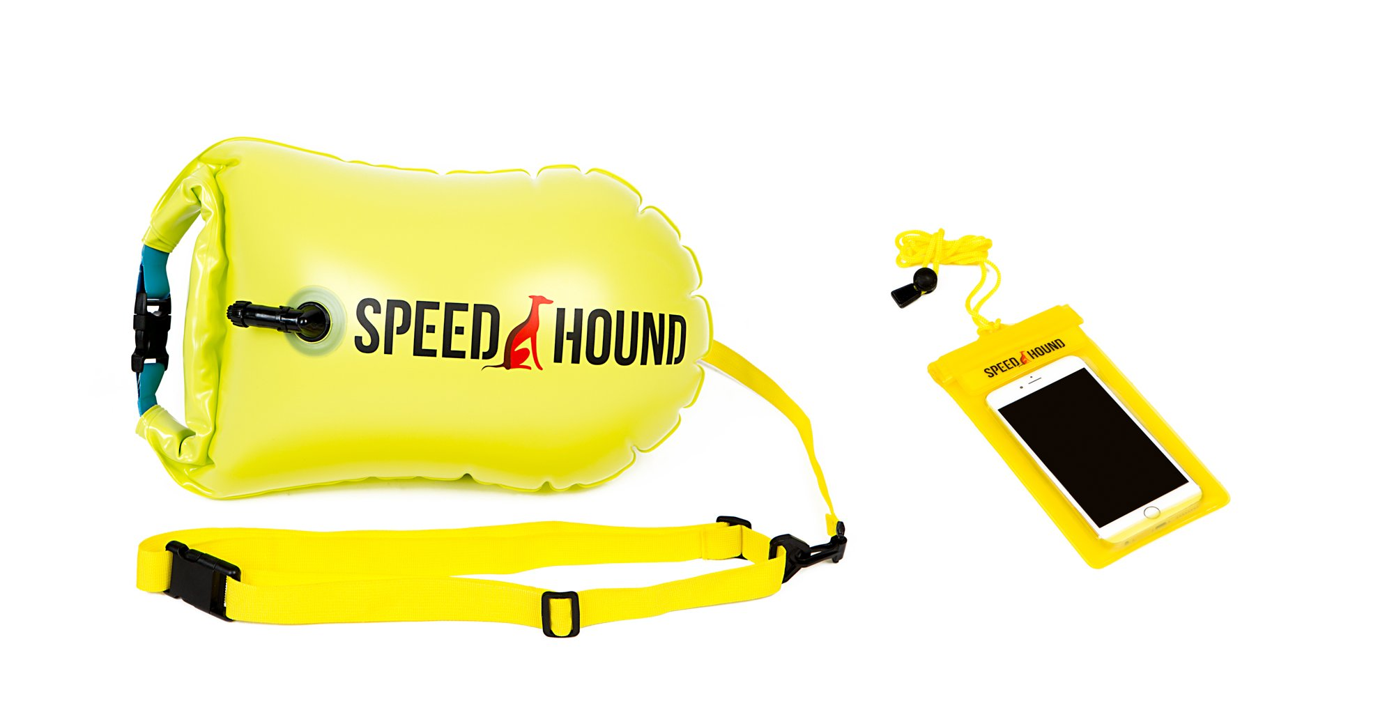 Speed Hound Sale Swim Buoy - Open Water Swim Buoy Flotation Device with Dry Bag and Waterproof Cell Phone Case (Highlighter Yellow) for Swimmers, Triathletes, and Snorkelers. Floats for Safer Swims