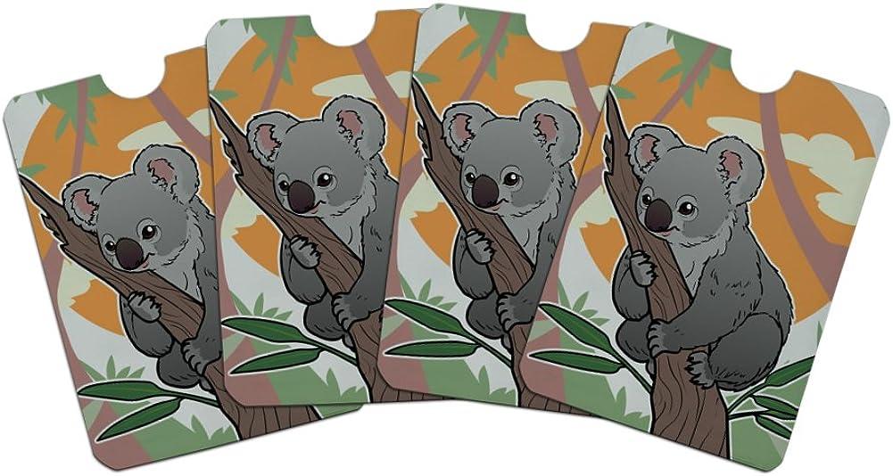 Koala Resting on Eucalyptus Tree Credit Card RFID Blocker Holder Protector Wallet Purse Sleeves Set of 4