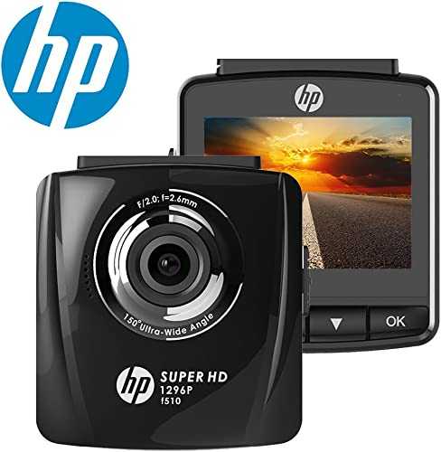 HP Dash Cam 1296P Super HD Night Vision Dashboard Camera Recorder with 2.4 LCD Screen, 150 Wide Angle, Parking Monitor, G-Sensor, Loop Recording