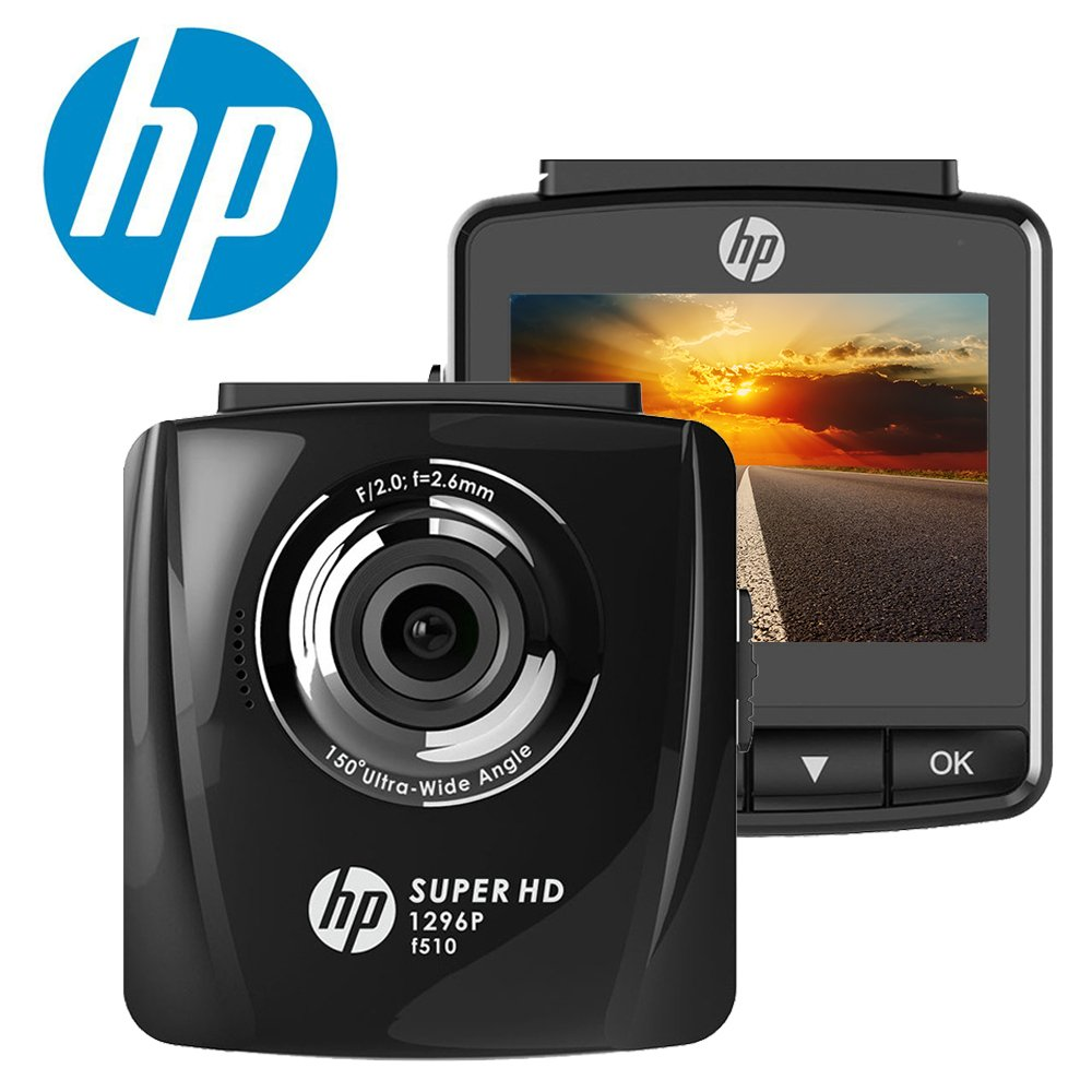 """HP Dash Cam for Cars 1296P Super HD Night Vision Dashboard Camera Recorder with 2.4"""" LCD Screen HDR Motion Detection, Parking Monitor, WDR, 150 Wide Angle Lens, Loop Recording and G-Sensor"""