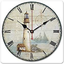 iCasso 12 Retro Vintage Coffee Cup French Country Tuscan Style Non-Ticking Silent Wood Wall Clock Wooden Wall Art Decor (Ligh house)