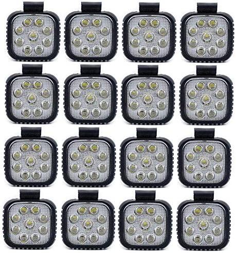 LSHAN 27W LEDカーワークライト厚い9ボールスクエアスポットライトオフロードATV SUVトラックスポットビームエンジニアリング車両照明スポットライトフォグランプ (Color : 16 pcs)