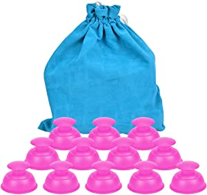 Silicone Cupping Therapy Sets Cups Massage, 12pcs Professional Vacuum Cupping Anti Cellulite Suction Cup for Facial Body Massage, Deep Tissue, Myofascial Release, Pain Relief, Muscle Relaxation (Pink)