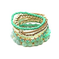 Riah Fashion Women's Multicolor Beaded Stretch Stackable Bracelet for Her