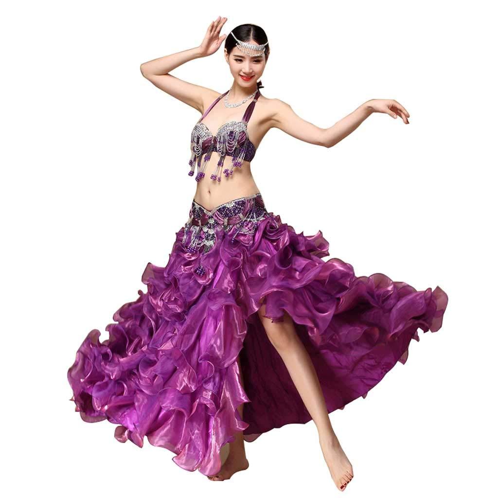 レディースベリーダンス衣装、秋と冬のブラジャーセット B07J45K8SD M|パープル パープル M