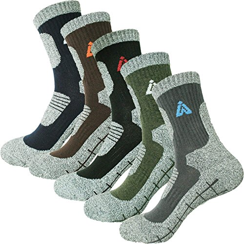 Men's 5 Pair Multi Performance Hiking Trekking Camping Outdoor Crew Socks by HASHI (Medium (Men shoes 7-9US)) from HASHI