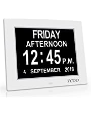 [Newest Version]12 Options Alarms Clock, Auto Night Dimming Display - Memory Loss Day Clock Digital Calendar Day Clock, Extra Large Non-Abbreviated Day & Month Digital Clock