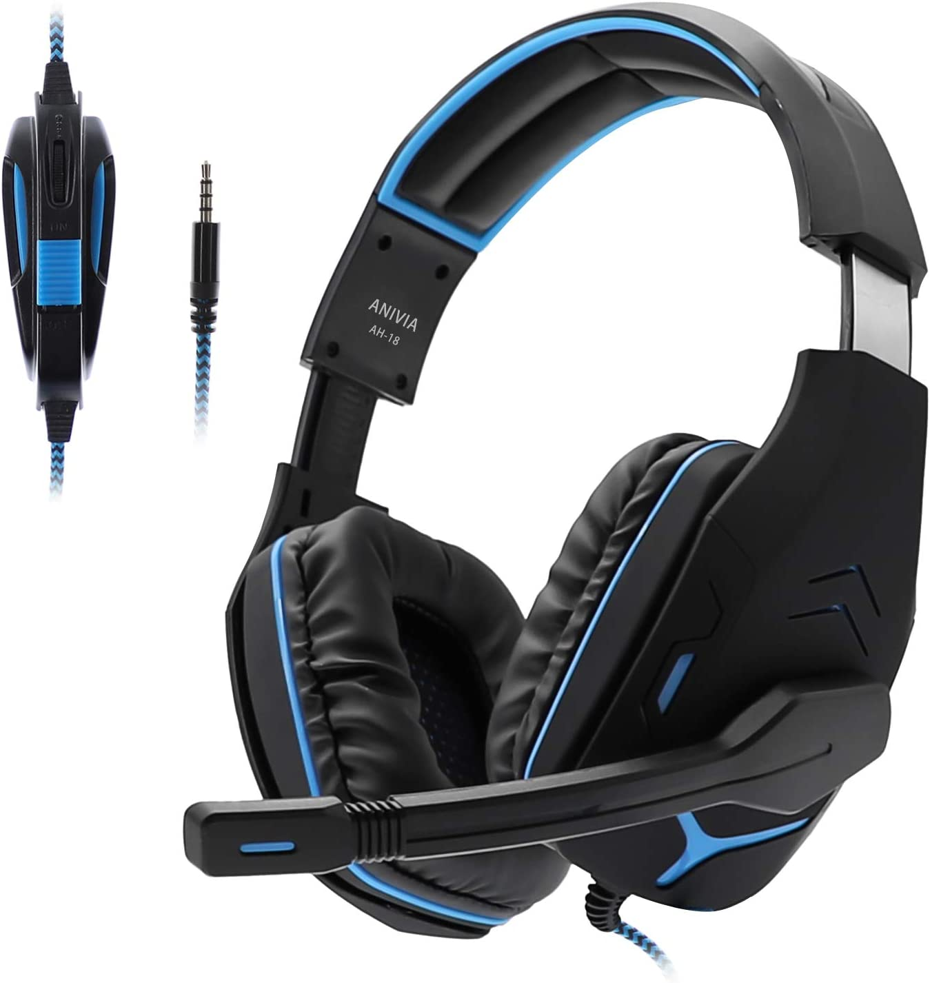 Gaming Headset for PS4,Anivia AH18 3.5mm Wired Noise Cancelling Headphone with Volume Control Mic Soft Memory Earmuffs for PC Laptop Mac New Xbox one Black Blue