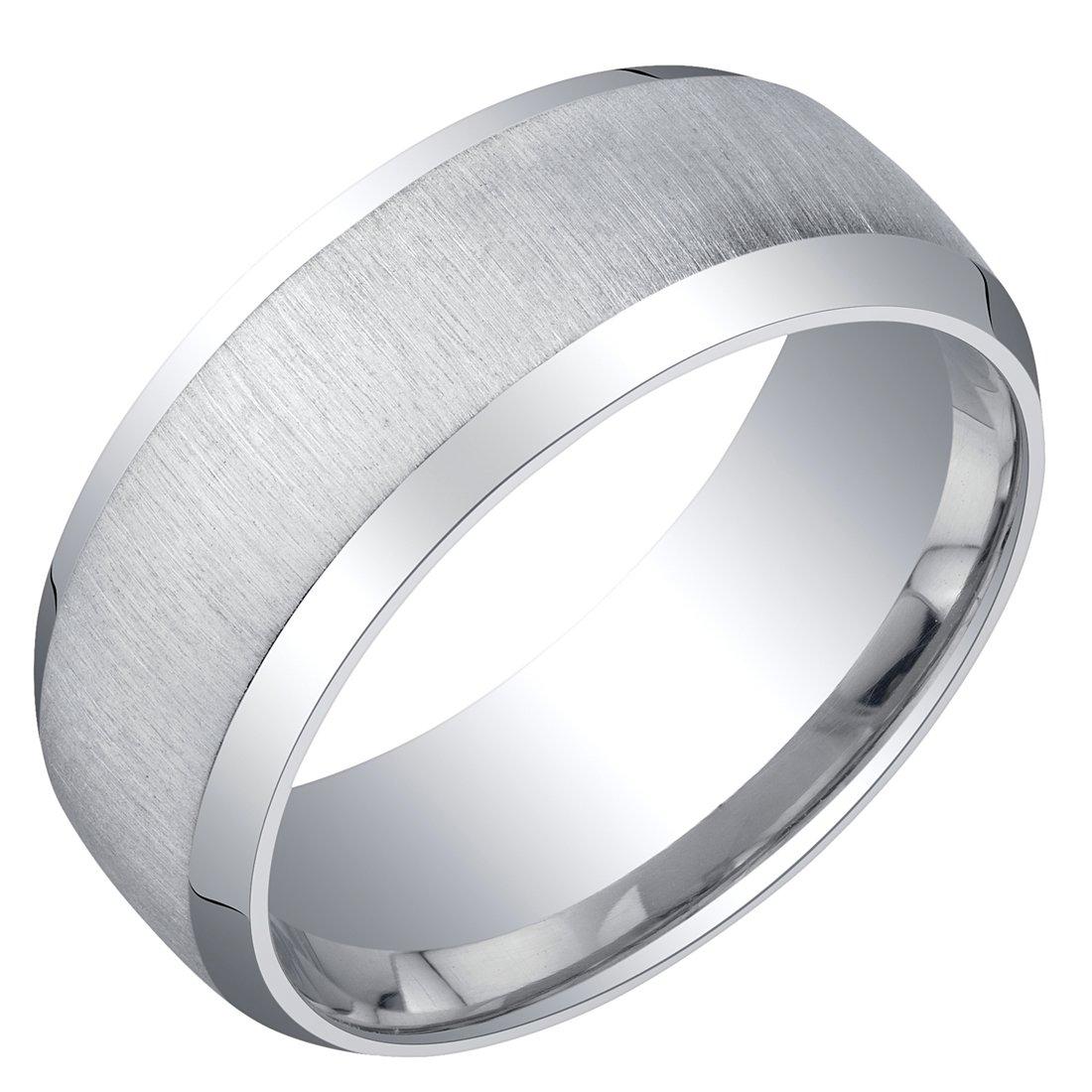 Mens Sterling Silver Beveled Edge Wedding Ring Band in Brushed Matte 8mm Comfort Fit Size 12