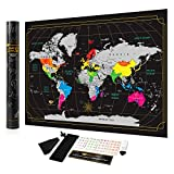 Scratch Off Map of The World in Rainbow Colors with Accessories, USA Outlined | Scratch Off Map Simple to Use for Everyone, Elderly and Kids | World Map Poster with Easy to Scratch Foil