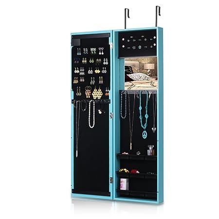 iKayaa LED Lights Hanging Jewelry Armoire Door Wall Mount Jewelry