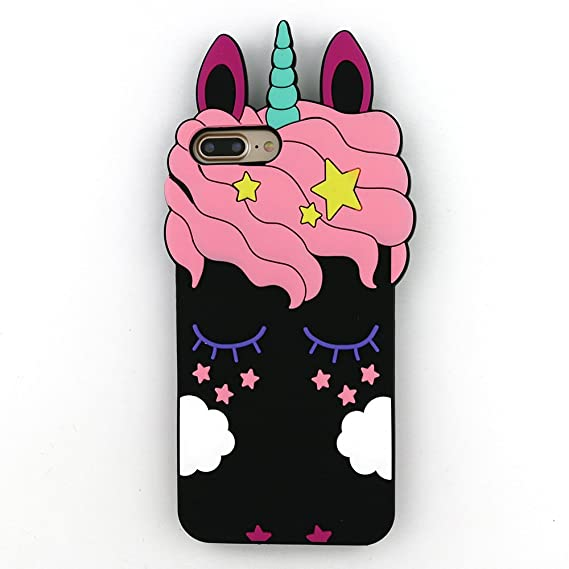 big sale a8c0a cd2a0 iPhone 8 Plus Case,iPhone 7 Plus Case 3D Cute Cartoon Rainbow Unicorn  Eyelash Horse Animal Soft Silicone Rubber Protector Skin Cover for iPhone 8  Plus ...