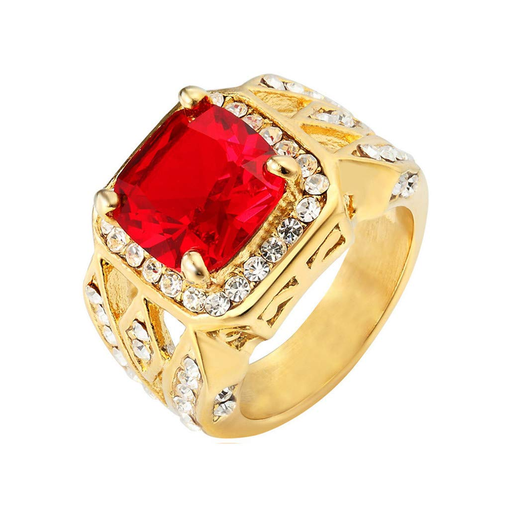 Guraxi Gold-Studded Zircon Titanium Steel Ladies Rings