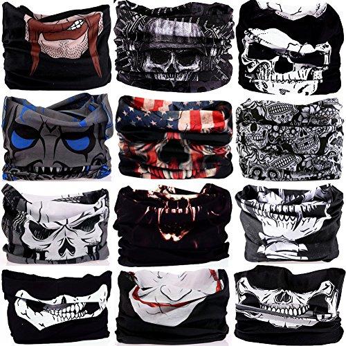 Ninja Skull Mask (16-in-1 12PCS/8PCS/6PCS Multifunctional Headwear yoga Sports Stretchable Casual Headband Seamless Uv Solid Moisture Neckwarmer Headwrap Mask Bandana Scarf (12PCS-SKULLS))