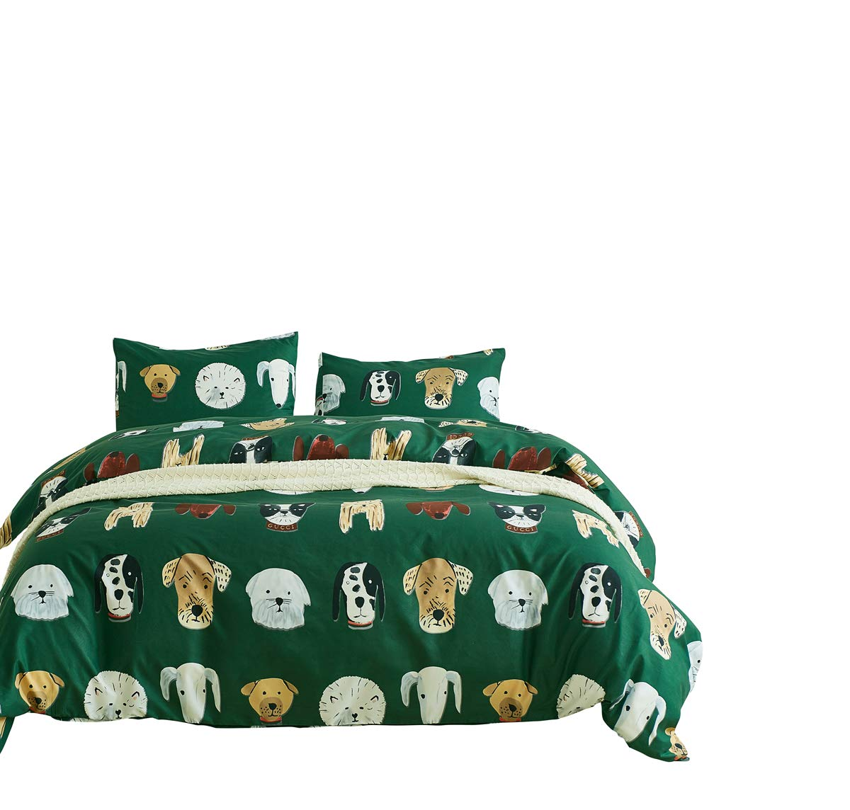 RheaChoice Green Dogs Cats Funny Design Printed Duvet Cover Set,3 Pieces Stylish Brushed Microfiber Bedding Set Zipper Corner Ties - King Size (104''x90'')