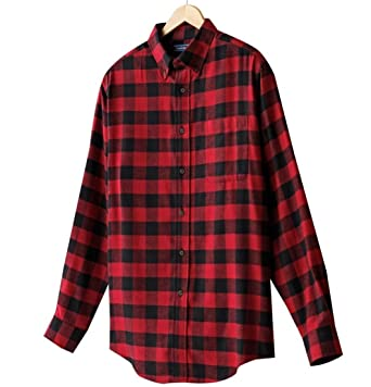 Mens Classic-Fit Plaid Buffalo Check Flannel Button-Down Shirt ...