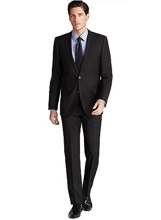 Amazon.com: Hugo Boss Astro Hill Negro Lana traje de rayas ...