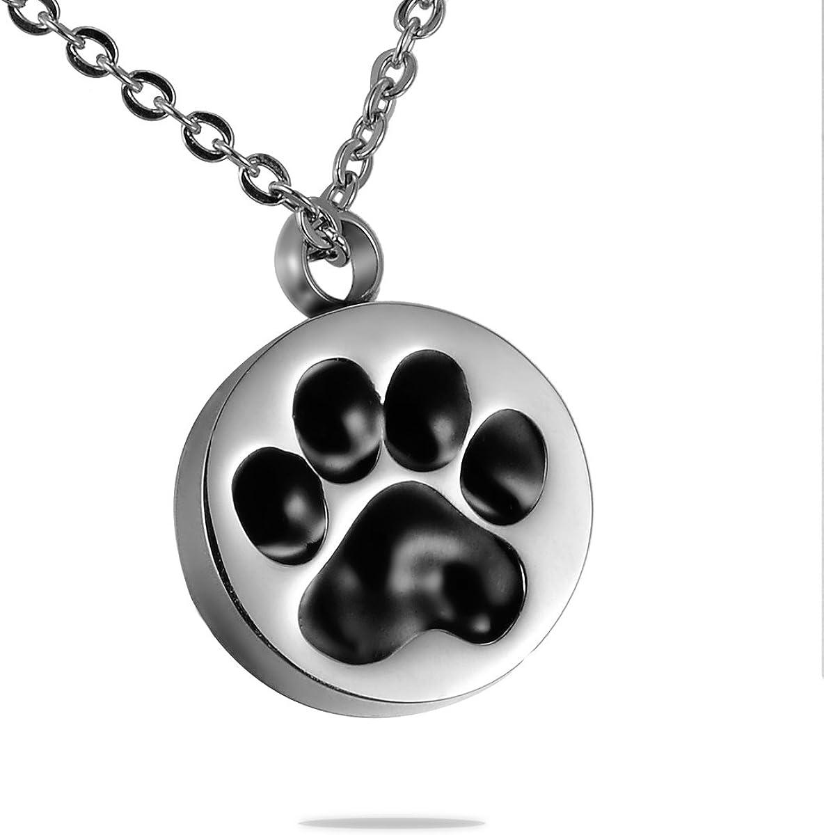 KEEPSAKE PENDANT ASHES FUR CHARM ROUND PAWPRINT PET DOG CREMATION URN NECKLACE