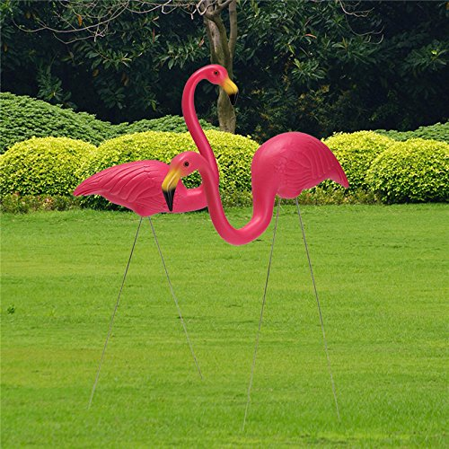 2PCS Pink Flamingo Plastic Yard Garden Lawn Art Ornaments Re