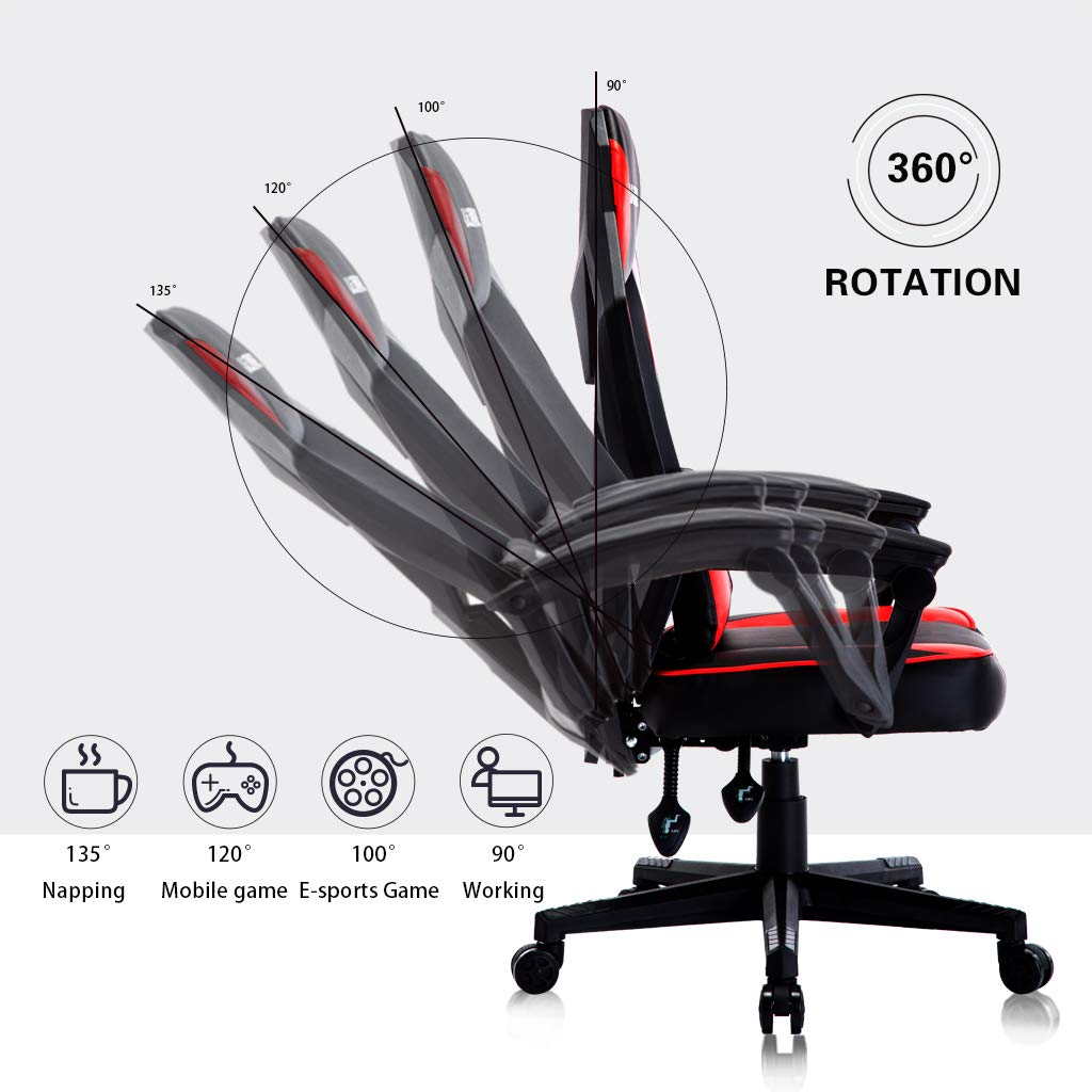 UOMAX Gaming Chairs, Ergonomic Computer Chair for Gamers, Reclining Racing Chair with LED Lights, Armrests and Lumbar Cushion. Red