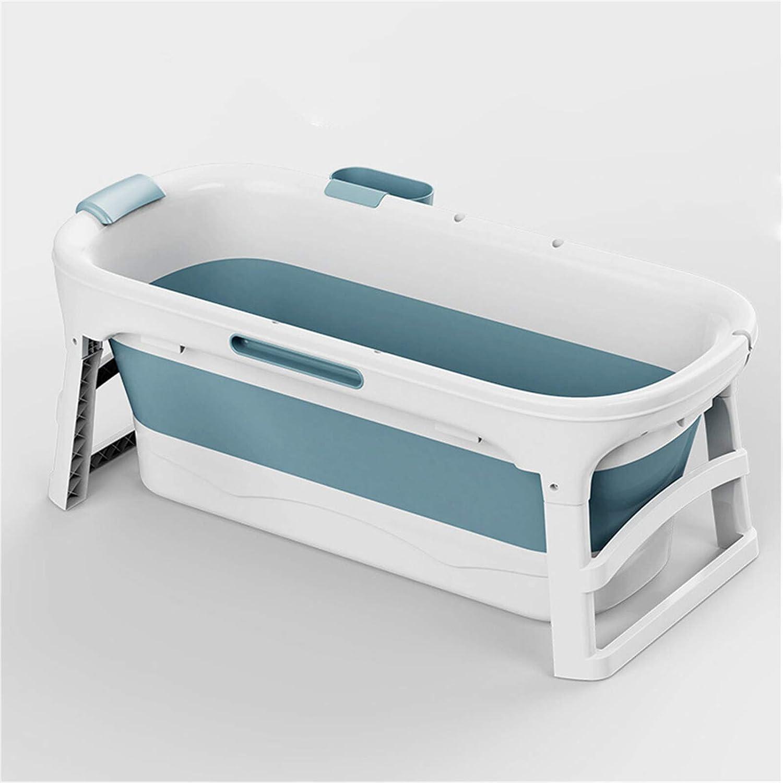 Bañera plegable portátil de 1,36 m, bañera plegable para niños, bañera, bañera de hidromasaje, ideal para baño caliente (tamaño: 136 x 62 x 52 cm, color: juego de doble taza)