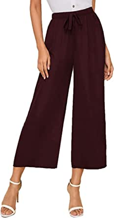 SOLY HUX - Pantalones largos para mujer (cintura alta, muselina), talla grande