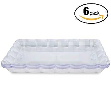 6 Bandejas Desechables para Servir – Azafate de Cocina Plástico y Reutilizable – Fuente de Accesorio